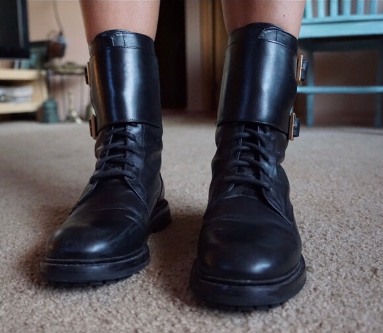 Tory Burch Black Combat Boots size 6
