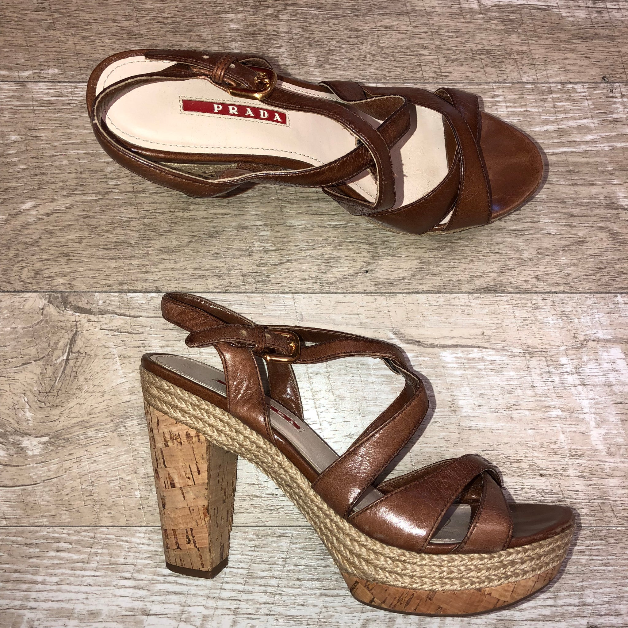 Prada Cork Platforms