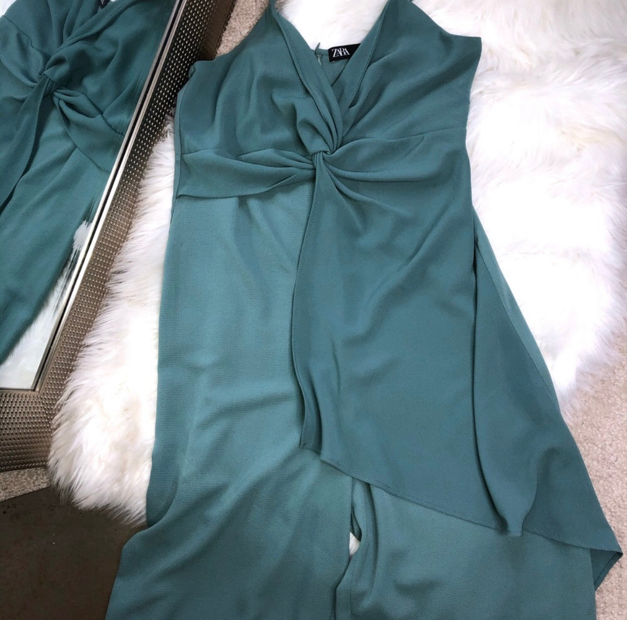 Zara emerald green jumpsuit size large
