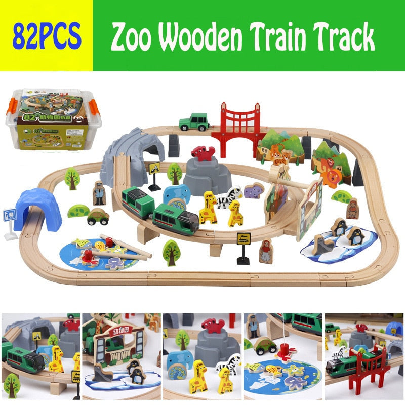Electric Train Zoo Wooden Train Track Set Wooden Track Build Blocks DIY  Educational Toys For Child