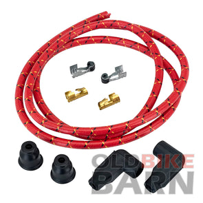 8mm Suppression Core Cloth Spark Plug Wire Sets - Red with Black & Yellow Tracers