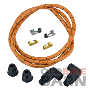 8mm Suppression Core Cloth Spark Plug Wire Sets - Oak with Red & Black Tracers