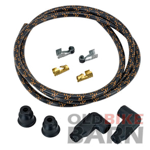 8mm Suppression Core Cloth Spark Plug Wire Sets - Black with Orange Tracers