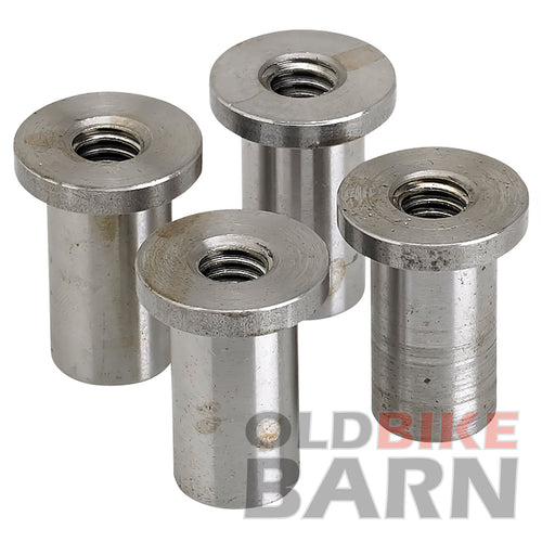 """4 pack Lowbrow Customs Coped Steel Bungs 1/"""" long 3//8-16 thread"""
