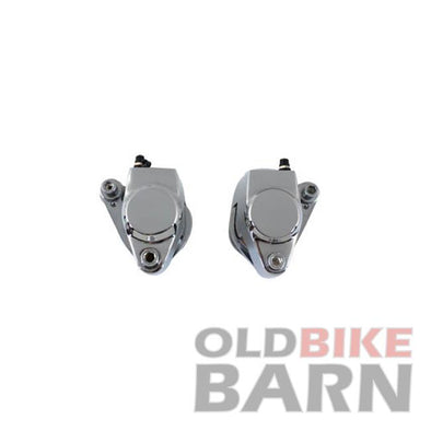 84-99 Chrome Front 1 Piston Caliper Set with Brake Pads