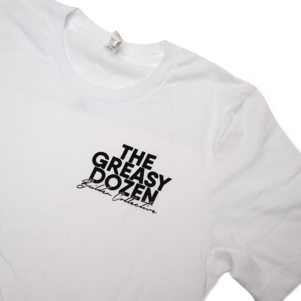Greasy Dozen Builder Collective Tee Front Detail - White