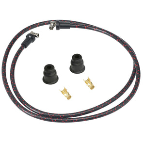 7mm Cloth Spark Plug Wire Kit - Black with Red Tracers