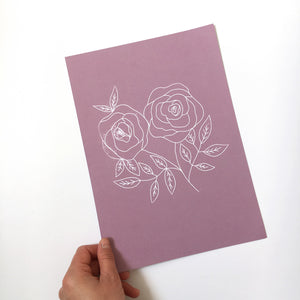 Sample sale - A4 smell the roses art print