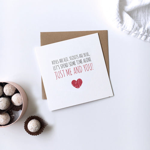Valentine's card 'Let's spend some time alone'
