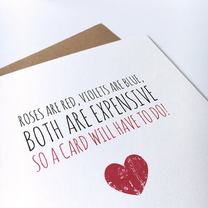 Valentine's card 'So a card will have to do'