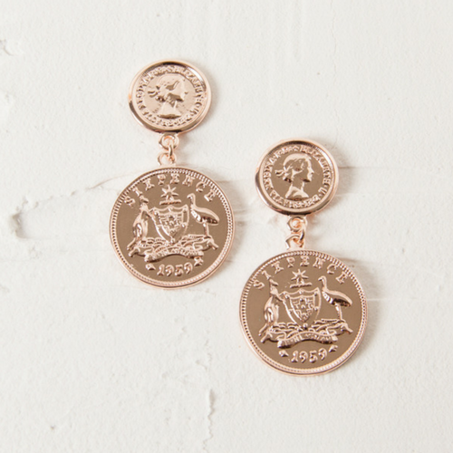DOUBLE COIN STUD EARRINGS