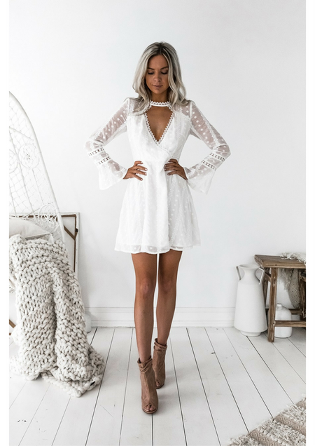 Blushing Dress - White Lace
