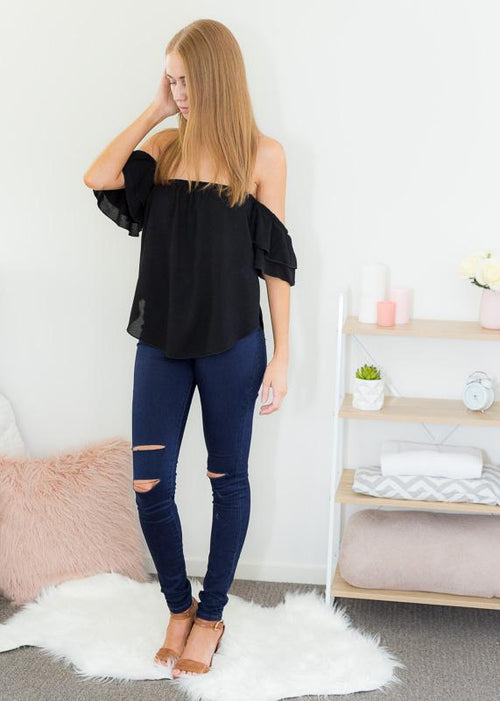 ZOE OFF-SHOULDER TOP IN BLACK