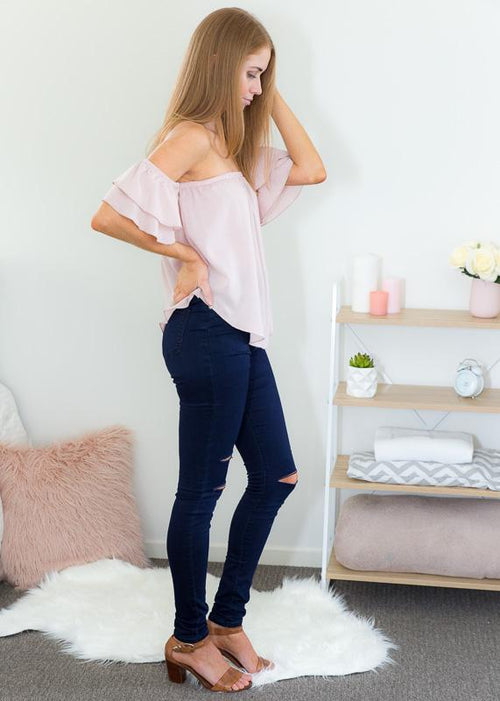 ZOE OFF-SHOULDER TOP IN BLUSH