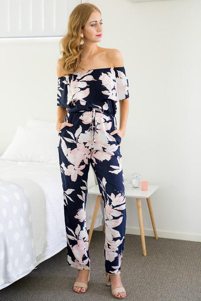 FANCY FLORALS JUMPSUIT - NAVY