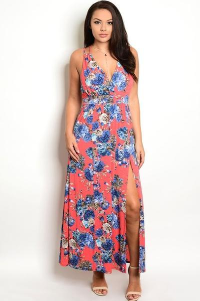 CORAL CRUSH FLORAL MAXI DRESS