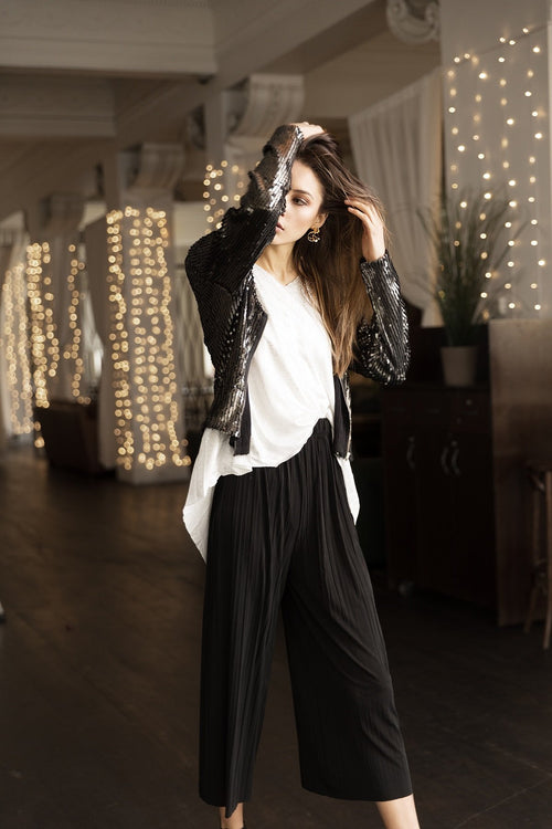 BREAKER FINE PLEATED WIDE LEG PANTS - BLACK