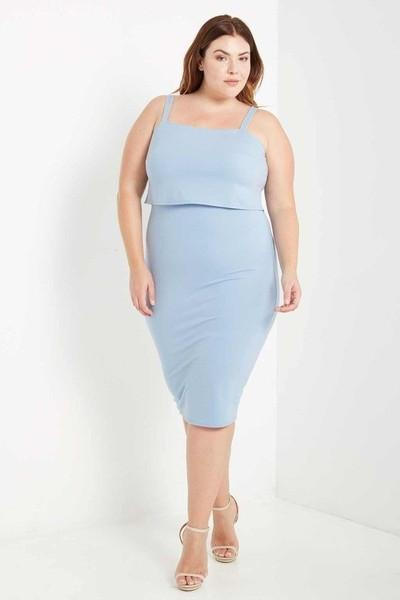 PENELOPE OVERLAY BODYCON DRESS - BLUE