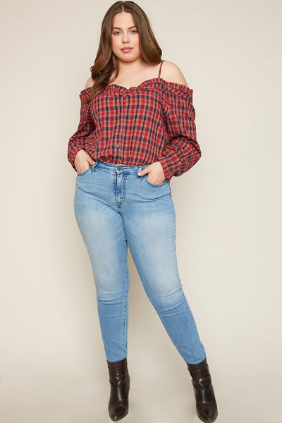 SANTANA PLAID OFF SHOULDER TOP