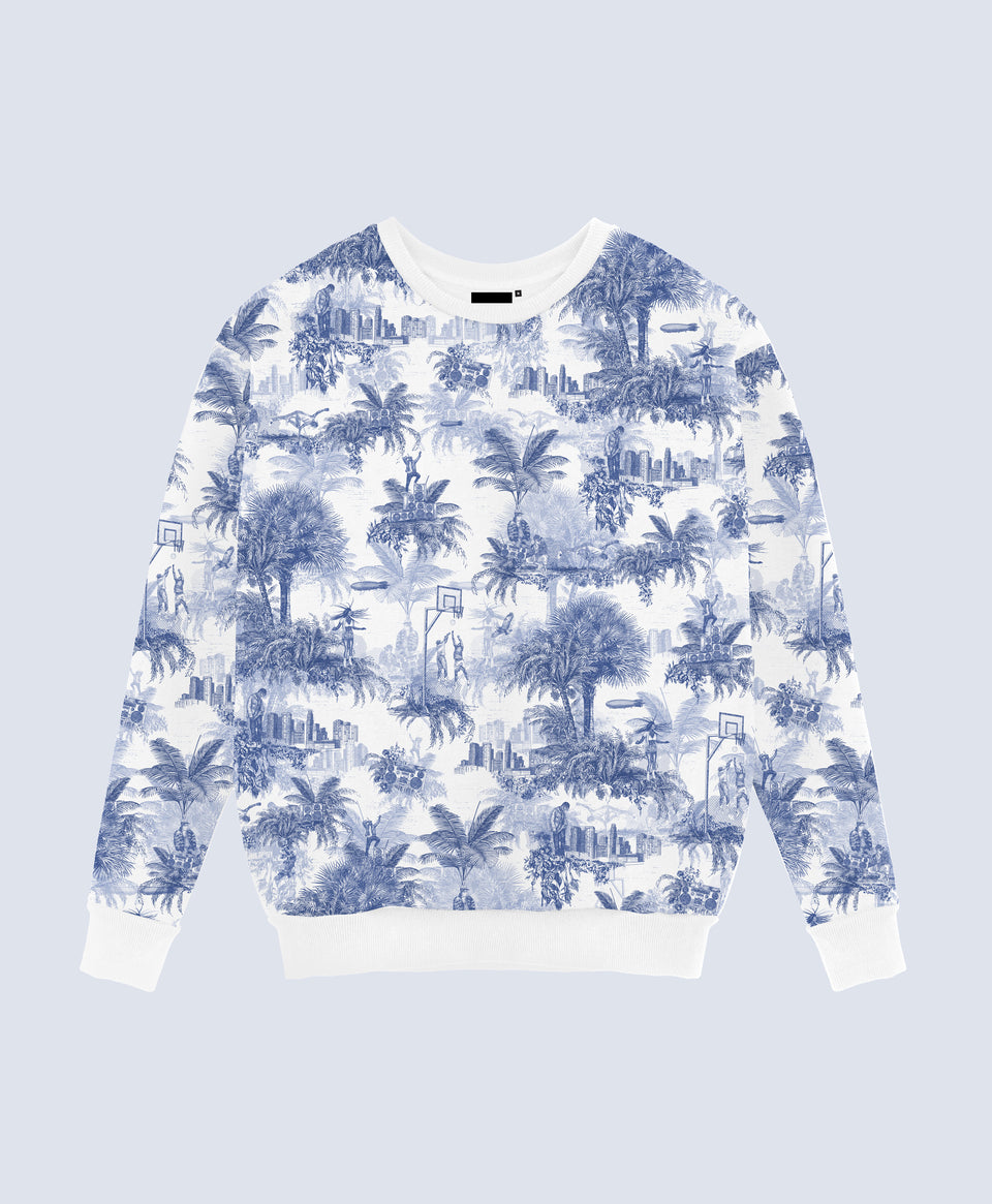 Hip Hop Toile de Jouy Blue Sweater