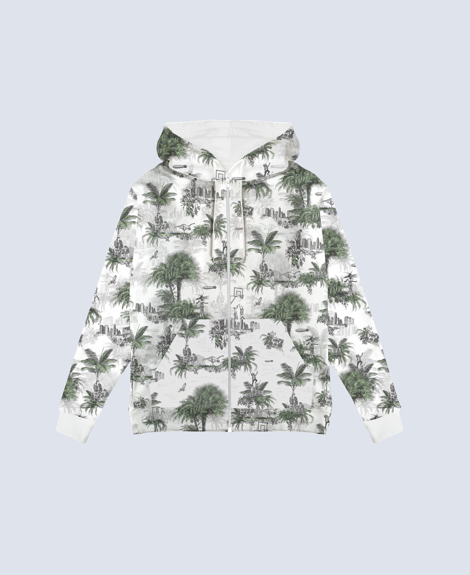 Hip Hop Toile de Jouy Green & White Hoodie