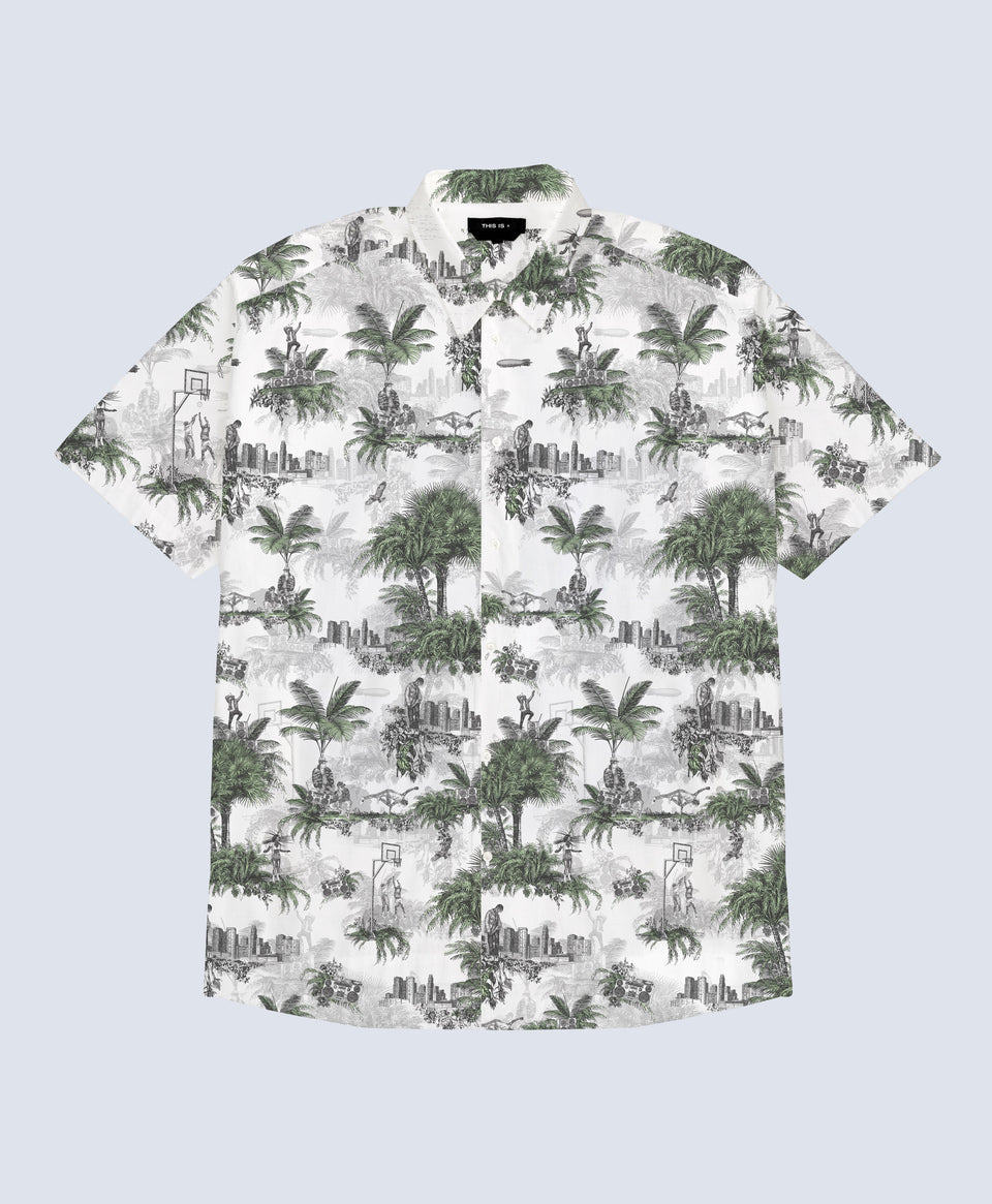 Hip Hop Toile de Jouy - Green & White Shirt