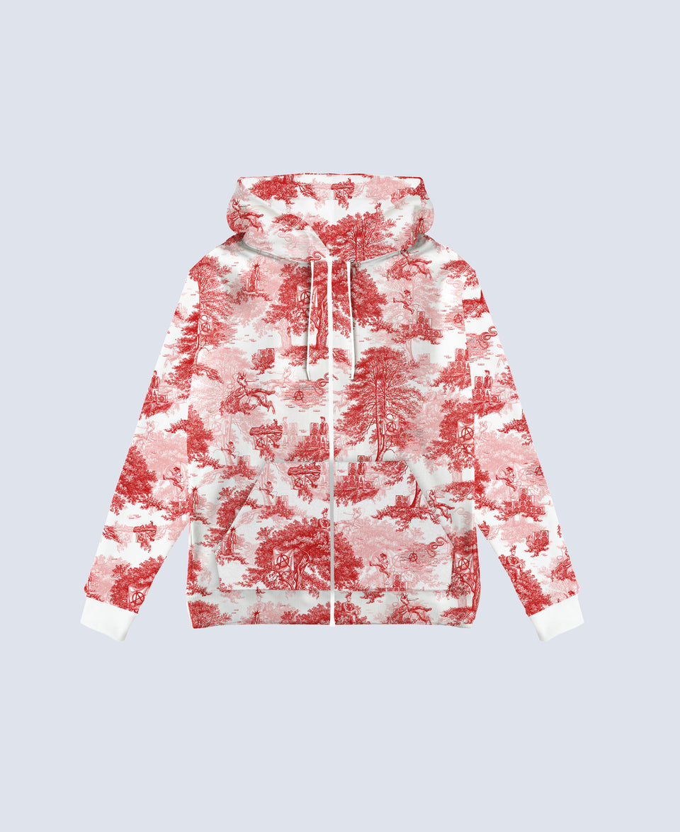 Punk Toile de Jouy Red & White Hoodie