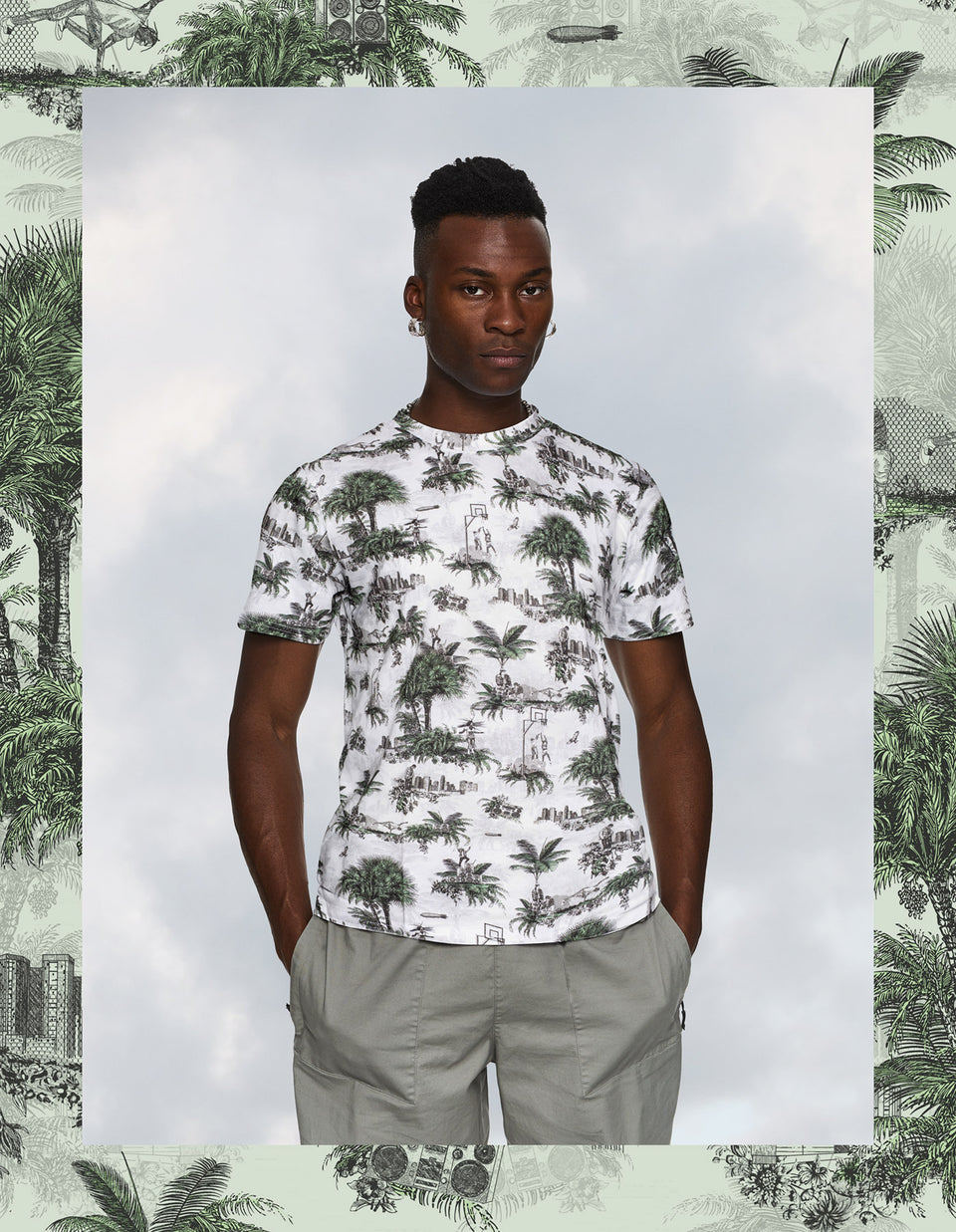 Hip Hop Toile de Jouy - Green & White T-Shirt