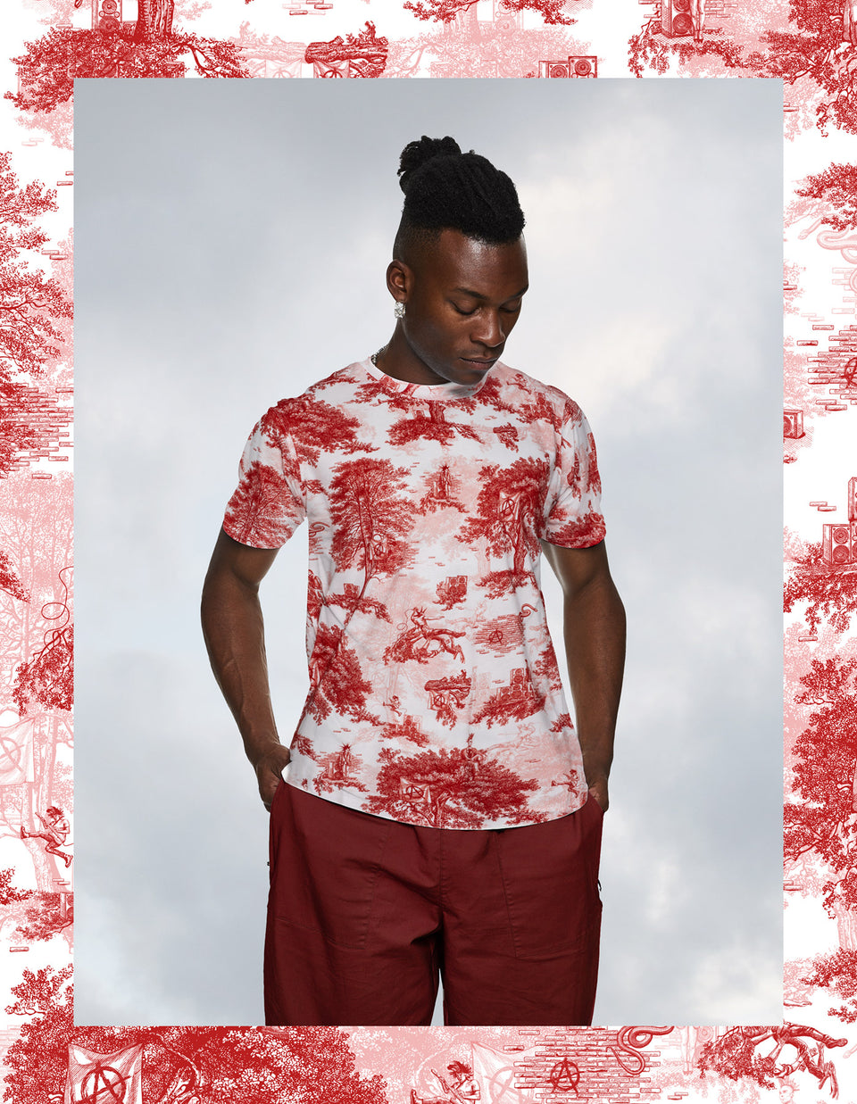 Punk Toile de Jouy - Red & White T-Shirt