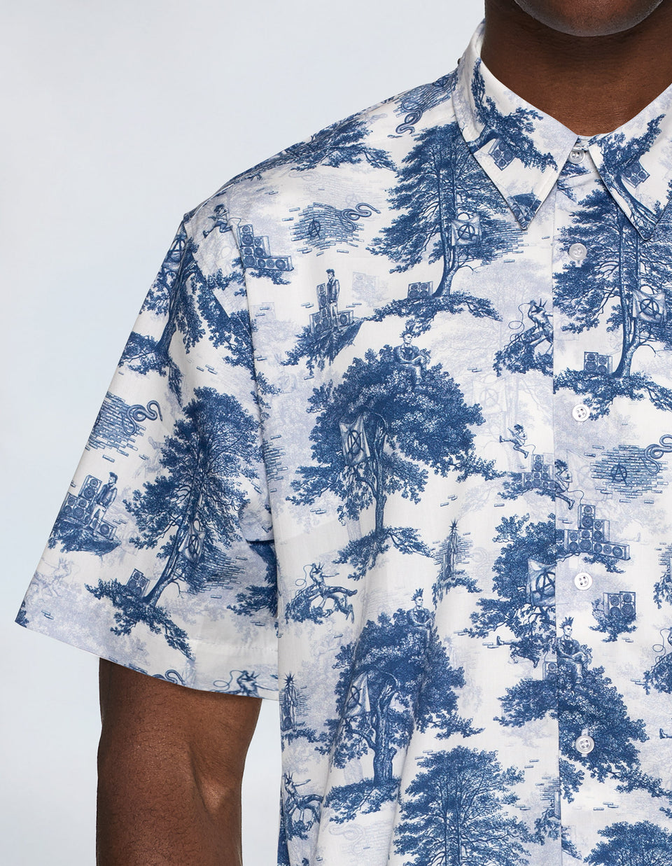 Hip Hop Toile de Jouy - Blue & White Shirt