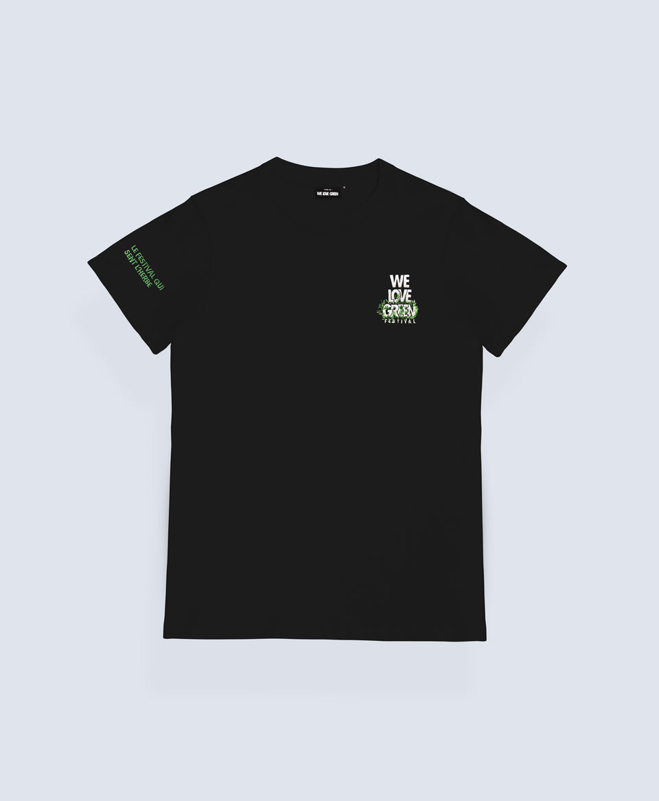 We Love Green Logo Embroidery Black T-shirt