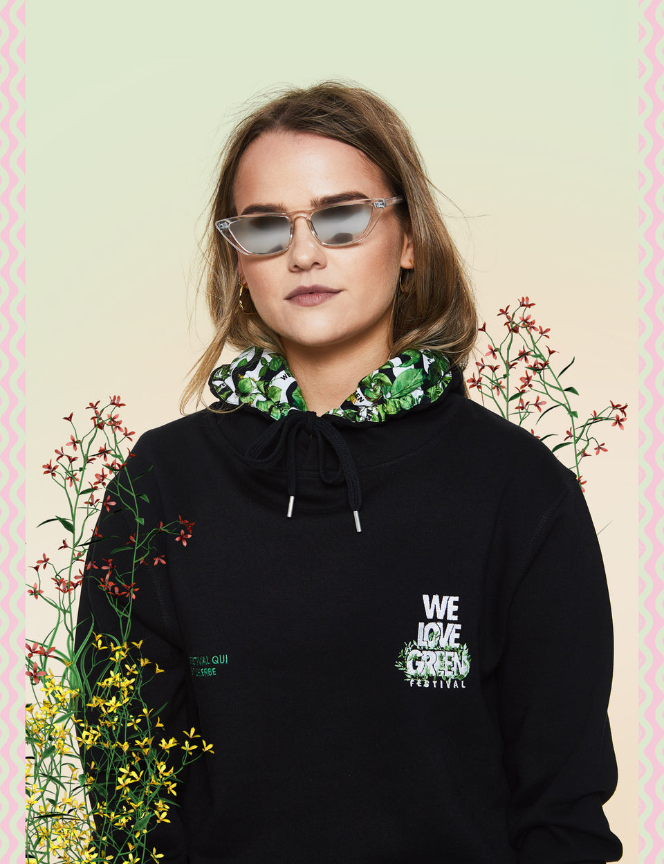 We Love Green Logo Embroidery Hoodie