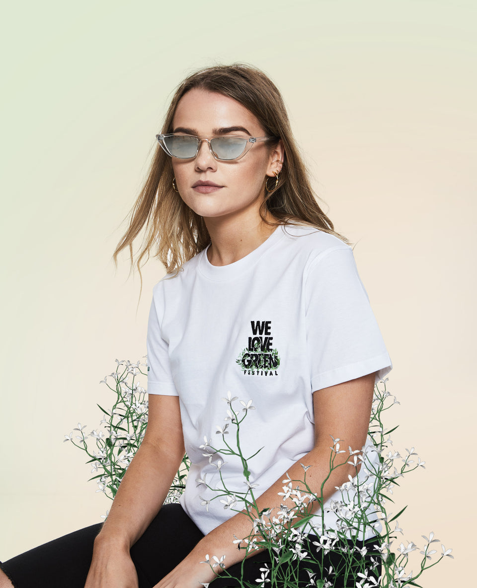 We Love Green Logo Embroidery White T-shirt