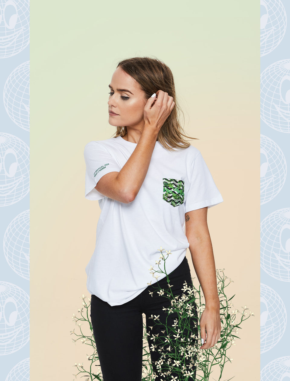 We Love Green Pocket White T-shirt