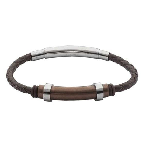 Related product : Bracciale in cuoio marrone intrecciato ed inserto in Pvd rosato