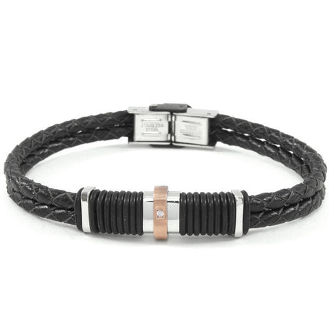 Related product : Bracciale in cuoio nero e zircone