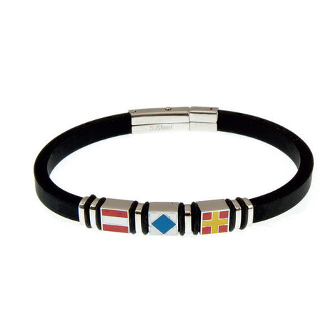 Related product : Bracciale in caucciù nero ed inserti colorati