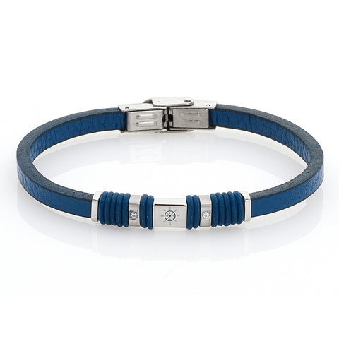 Related product : Bracciale in pelle blu, zirconi e timone smaltato