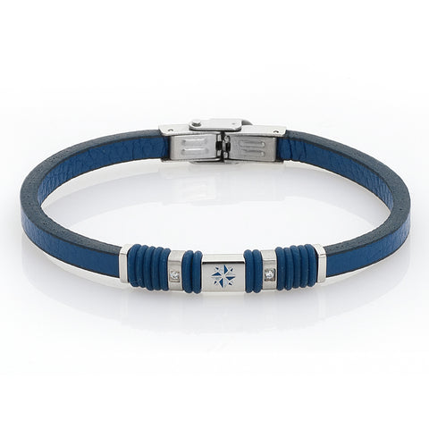 Related product : Bracciale in pelle blu, zirconi e rosa dei venti smaltata