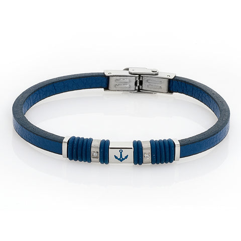 Related product : Bracciale in pelle blu, zirconi e ancora smaltata