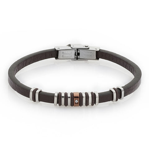 Related product : Bracciale in pelle marrone, Pvd e zircone