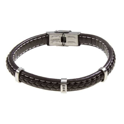 Related product : Bracciale in cuoio marrone intrecciato e zirconi