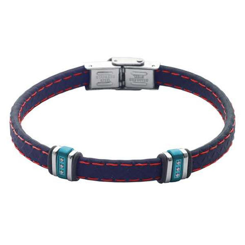 Related product : Bracciale in cuoio blu con zirconi