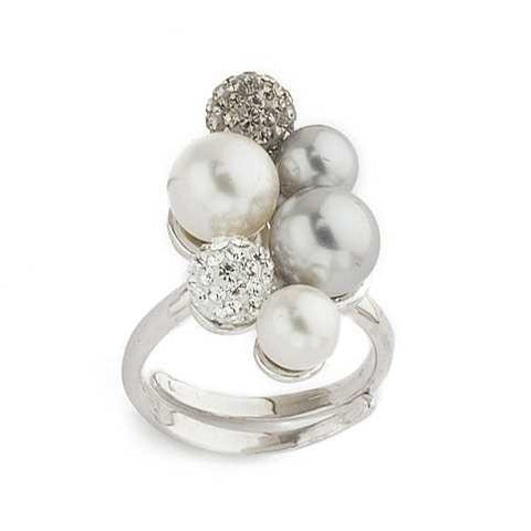 Related product : Anello in argento con perle bianche e grigie e strass