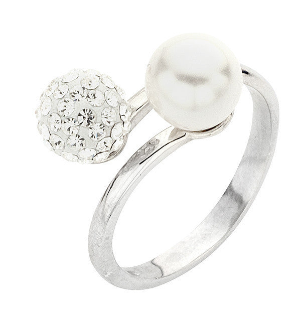 Silver ring with Swarovski white pearls and rhinestones