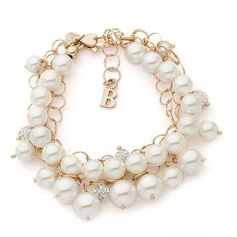 Related product : Bracciale multfilo in argento rosato con perle e strass
