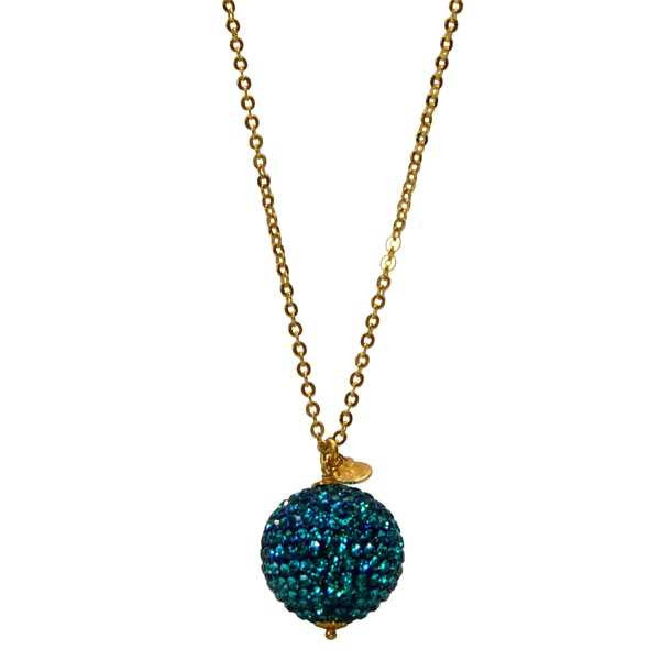 Collana con sfera in pavè di strass turchesi