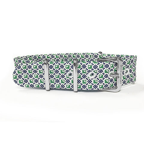 Related product : Cinturino sartoriale motivo optical verde e bianco