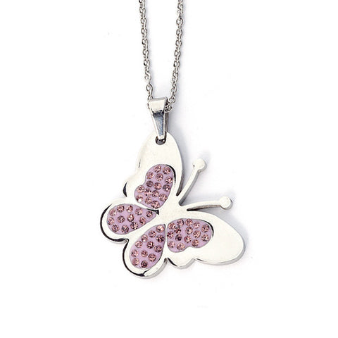 Related product : Collana a forma di farfalla con strass rosa