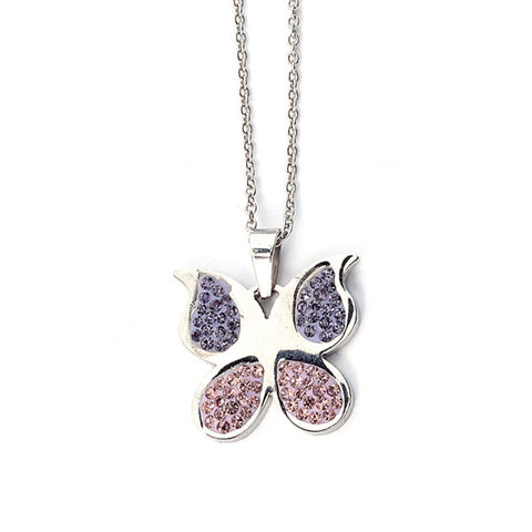 Related product : Collana a forma di farfalla con strass lilla e rosa
